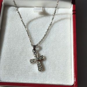 Jewelry - Diamond cross necklace- sterling silver